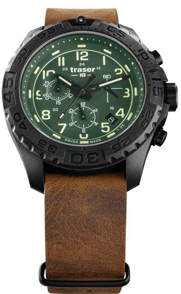 Traser P96 OdP Evolution Chrono Green - Leather Strap