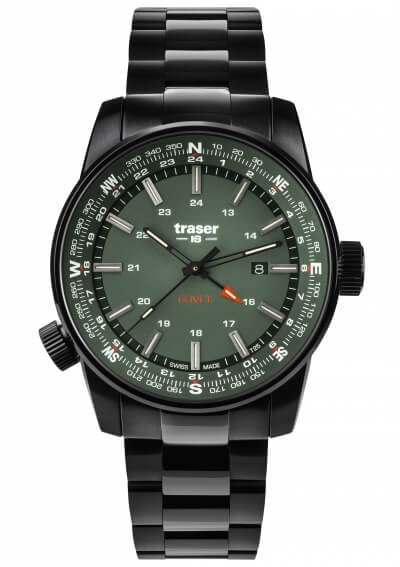 Traser P68 Pathfinder GMT Green - Stainless Steel Bracelet